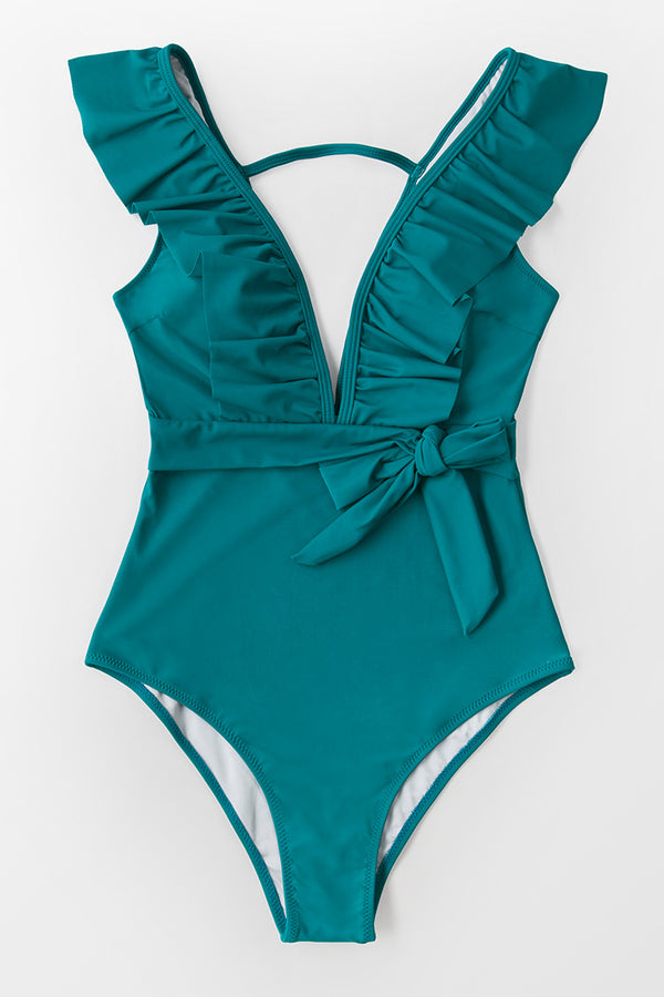 Teal Plunging Ruffle One-Piece Swimsuit