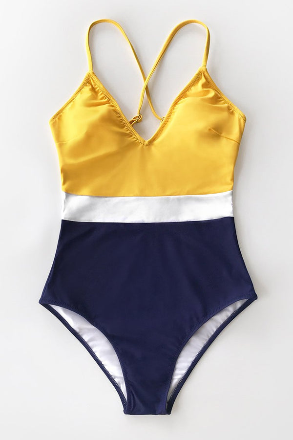 Colorblock V-Neck One Piece Swimsuit