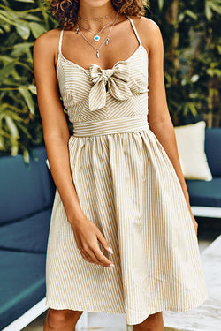 Apricot Stripe Lace-Up Back Dress