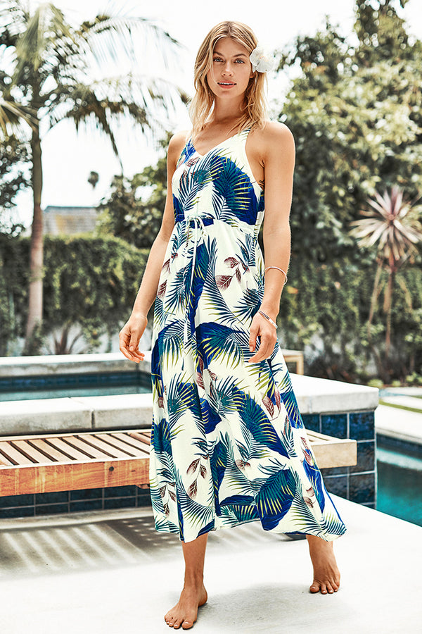 Blue Leaf Print Dress with Drawstring Waist