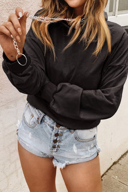 Short Hoodie with Chain Detail