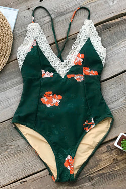 Dark Green Floral One-Piece with Lace Trim
