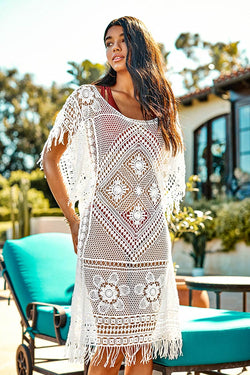Boho Hollow Out Cover Up with Fringe