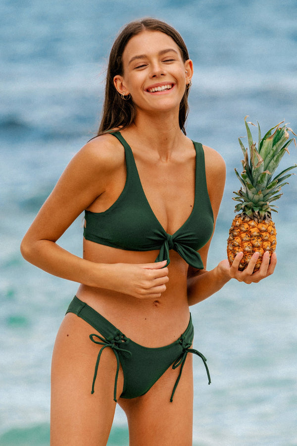 Dark Green Knotted Lace Up Tank Bikini