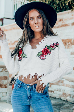 White Embroidery Sweater with Fringe