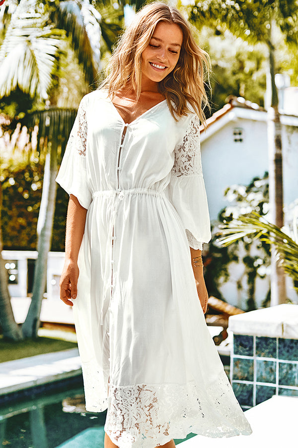 White Lace Puff Sleeve Cover Up