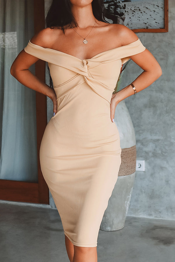 Off-The-Shoulder Front Twist Bodycon Dress