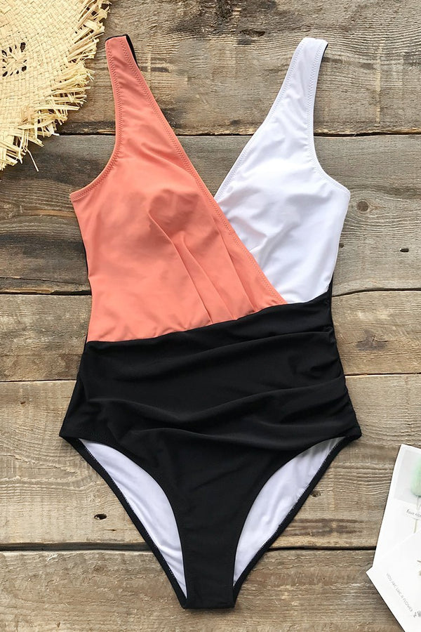 Pink White and Black Colorblock One-Piece Swimsuit