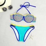 Cupshe Bright Morning Stripe Halter Bikini Set