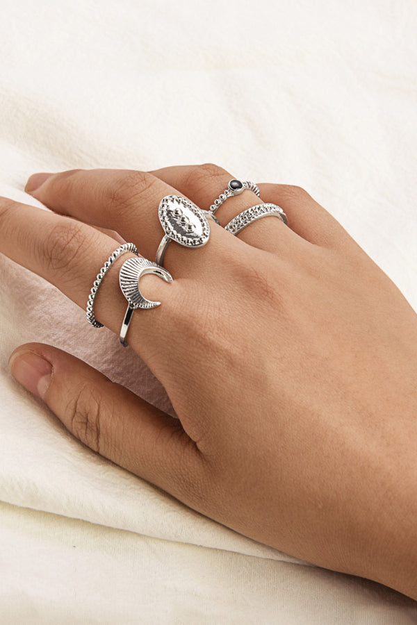 Silver Sun And Moon Ring Set