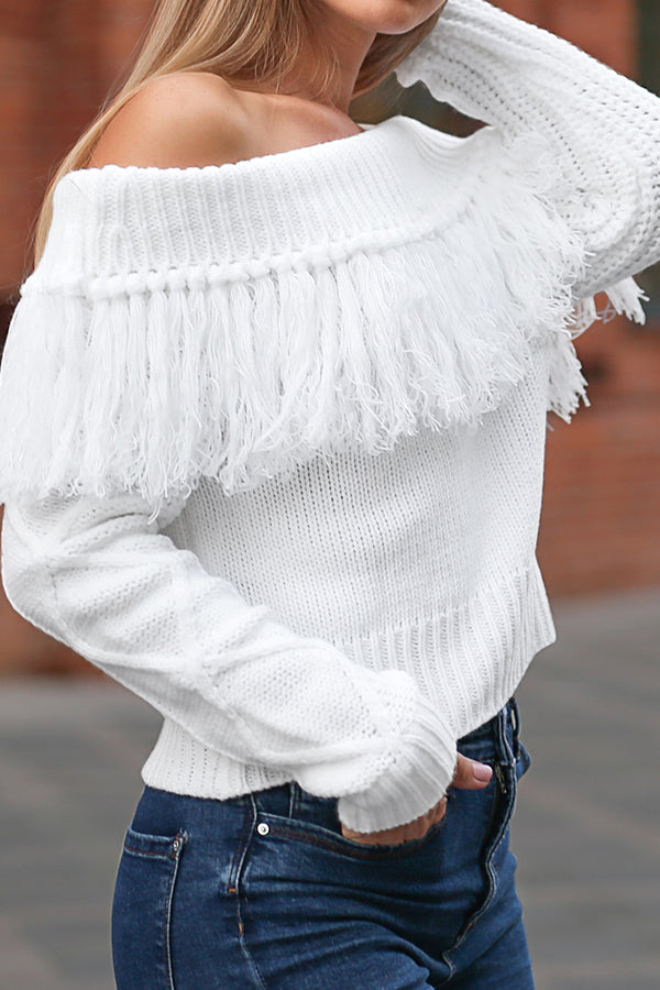 White Off-The-Shoulder Tassel Sweater