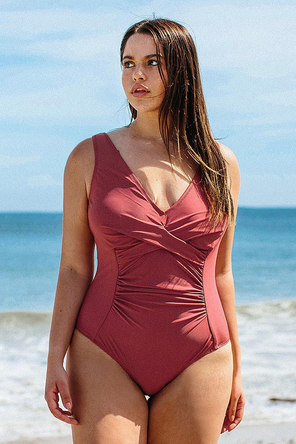 Marsala V-Neckline Plus Size One Piece Swimsuit