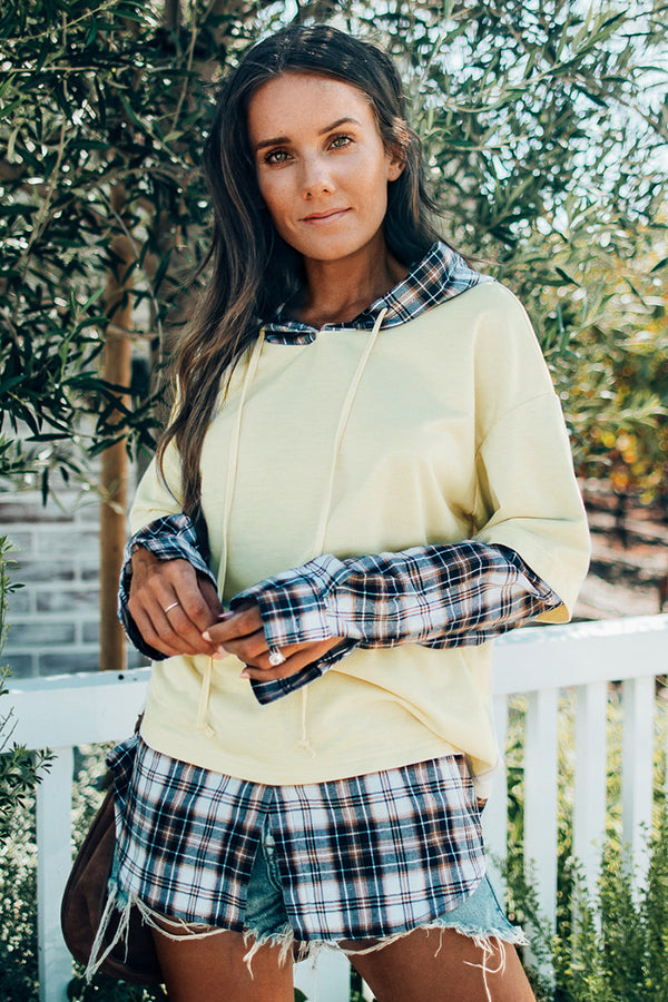 Plaid Faux Layered Hoodie