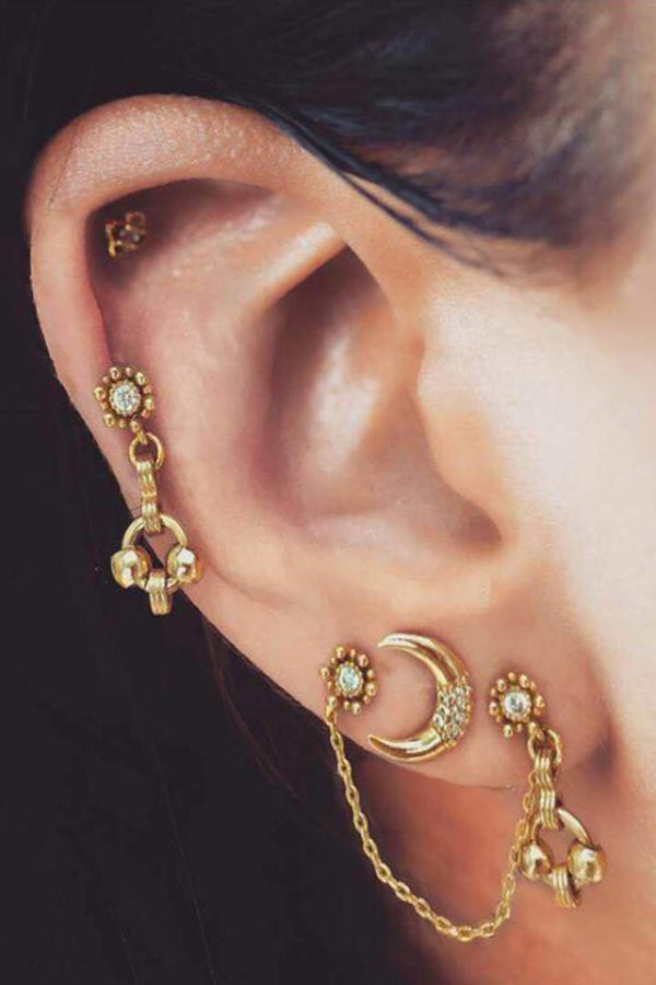 Gold Moon and Stars Three-Piece Earring Set