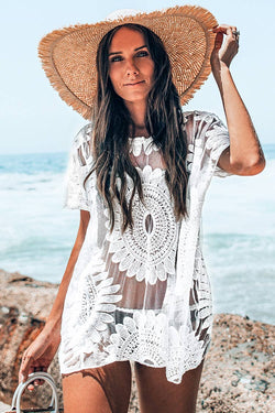 White Sun Floral Cover Up