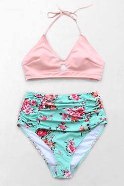Pink And Floral High-waisted Bikini