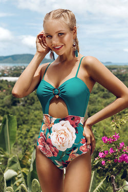 Teal and Floral One-Piece Swimsuit