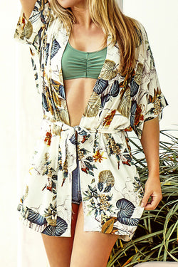 Loose Leafy Print Cover Up with Belt