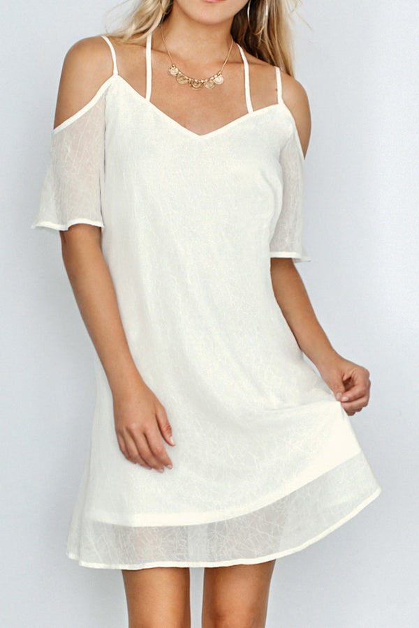 White Cold Shoulder Double Strap Dress