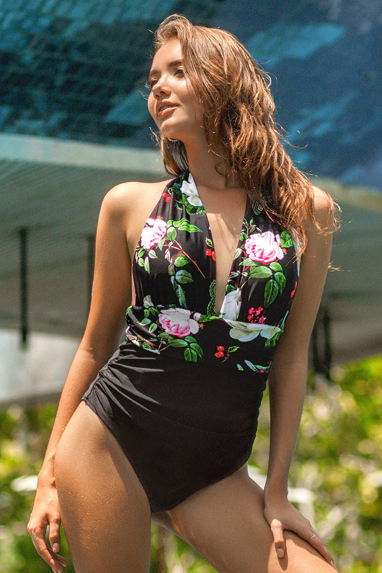 Lost Butterfly Shirring One-piece Swimsuit