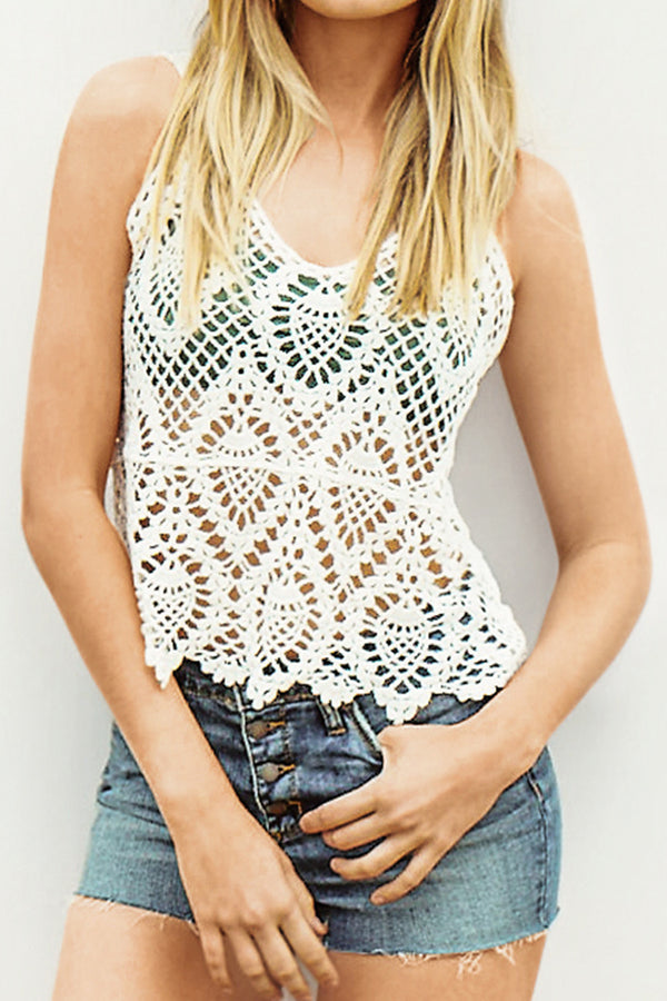 Short White Lace Slip Cover Up