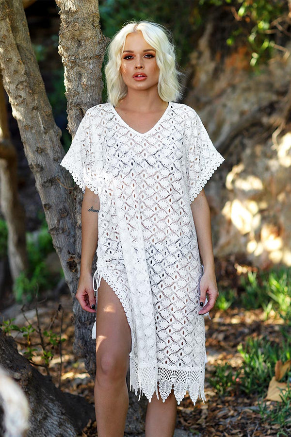 White V-Neck Hollow-Out Cover Up