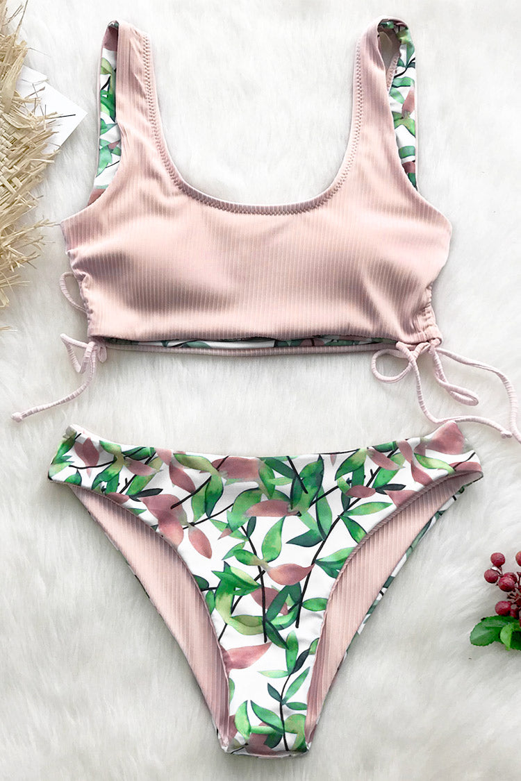 Reversible Pink And Leaves Bikini