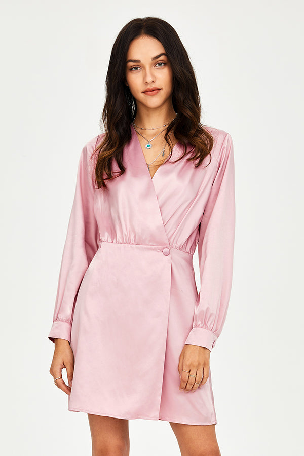 Pink Buttoned Warp Dress