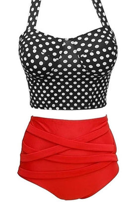 Cupshe Polka Dot Print High-Waisted Bikini