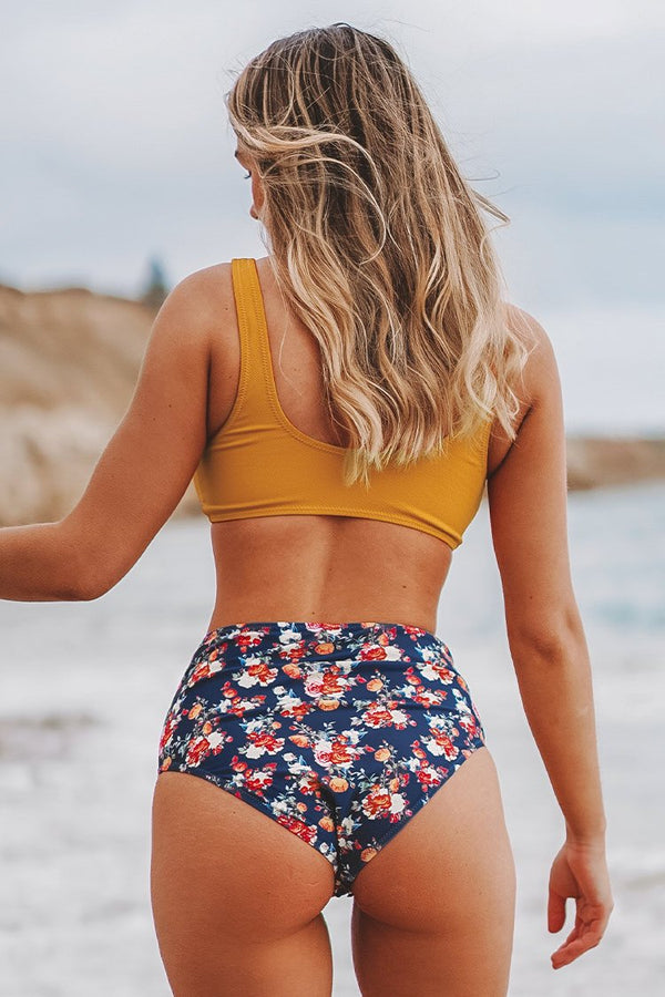 Caramel Buttons High Waisted Floral Bikini