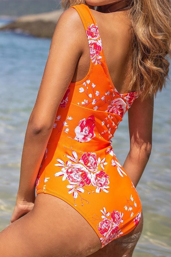 Neon Orange Floral Off-the-Shoulder One-Piece Swimsuit