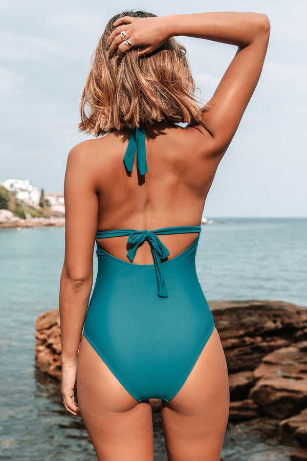 Teal Blue Plunged Neck One Piece Swimsuit