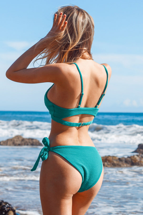 Textured Ribbed Teal Twist Bikini Set with Side Ties