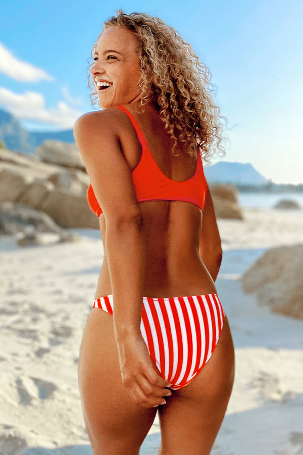 Red and Striped Bikini Set