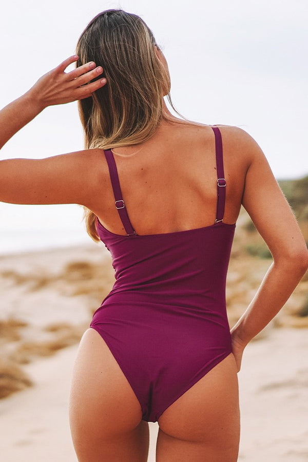 Berry Red Ruched One-Piece Swimsuit