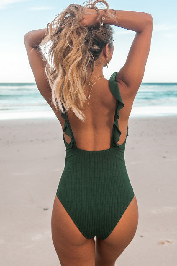 Dark Green Ruffle One-piece Swimsuit