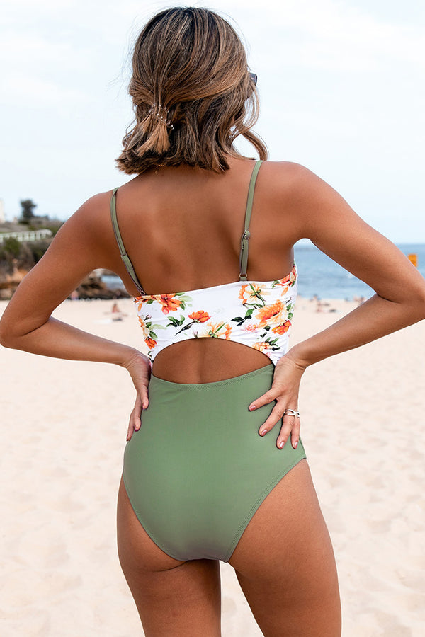 Green and Floral Knotted One Piece Swimsuit