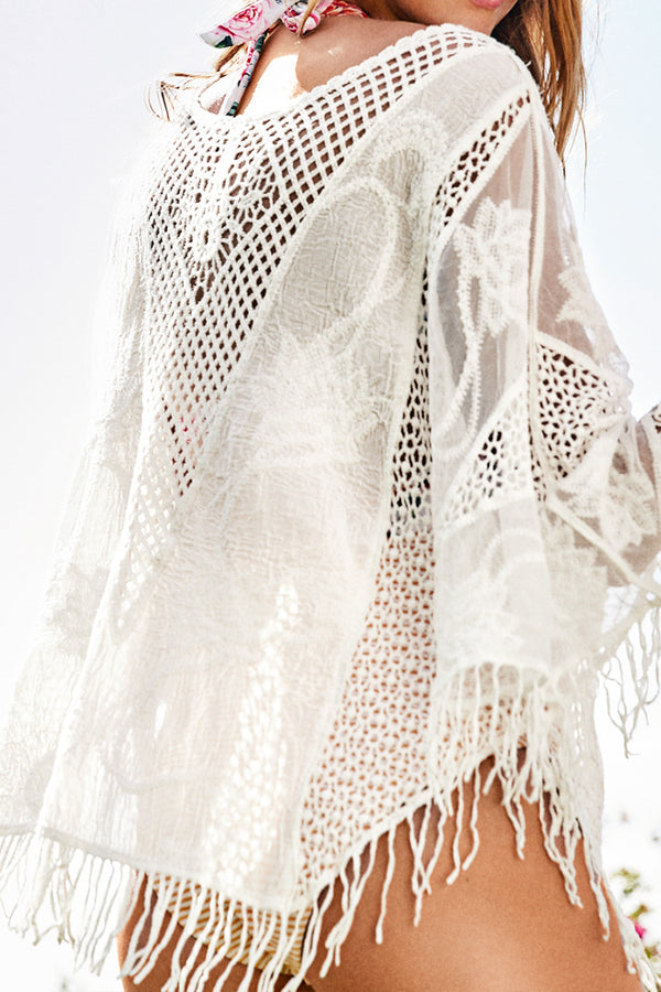 White Crochet Tasseled Cover Up