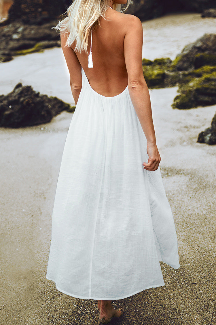 White Halter Backless Cover Up with Tassels