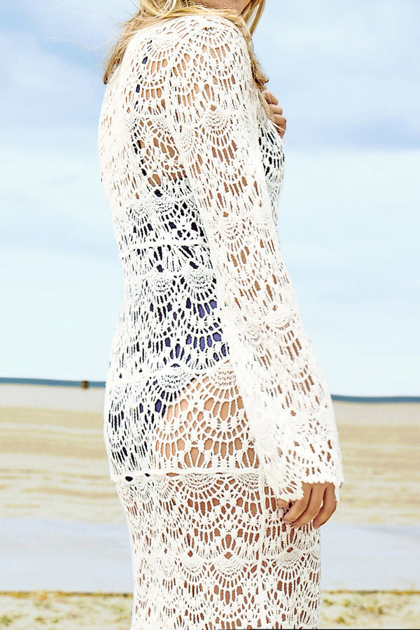 White Crochet Jumper Wave Pattern Cover Up