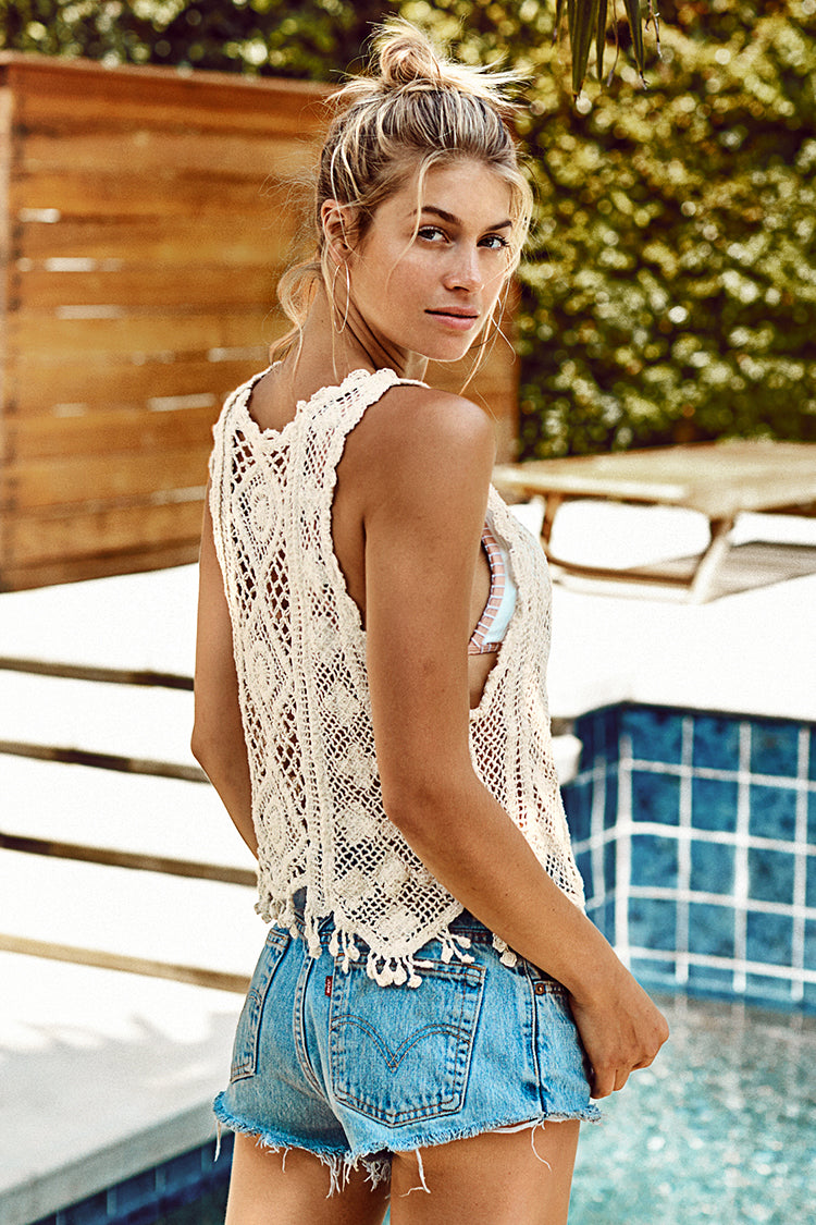Ivory Crochet Cover Up Top