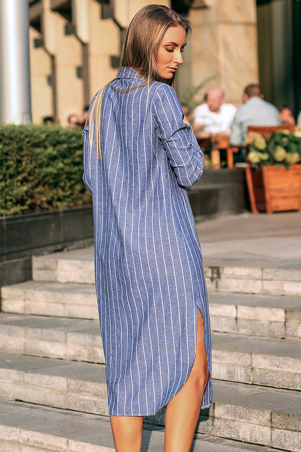 Striped Buttoned Long Cover Up