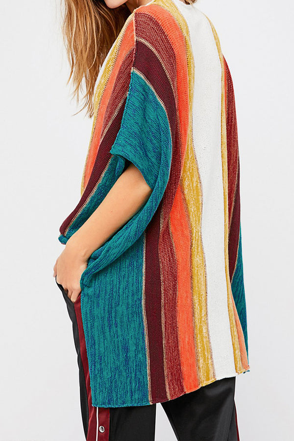 Colorful Vertical Stripes Cover Up