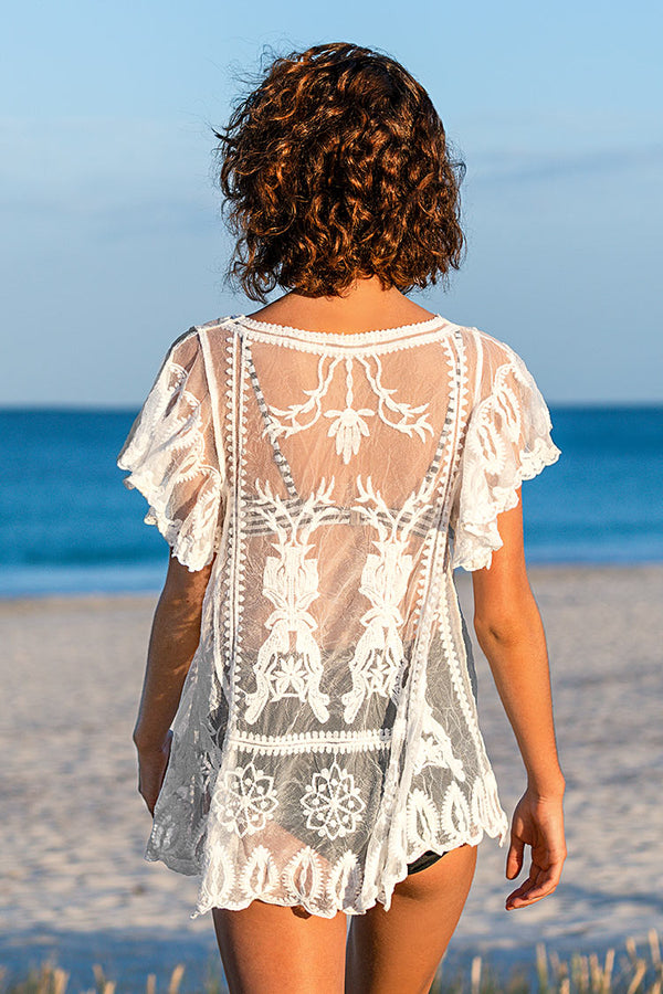 White Lace Scallop Trim Tunic