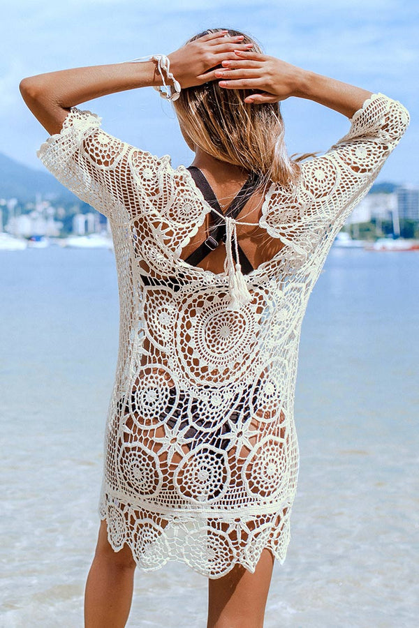 White Boho V-Neck Cover Up
