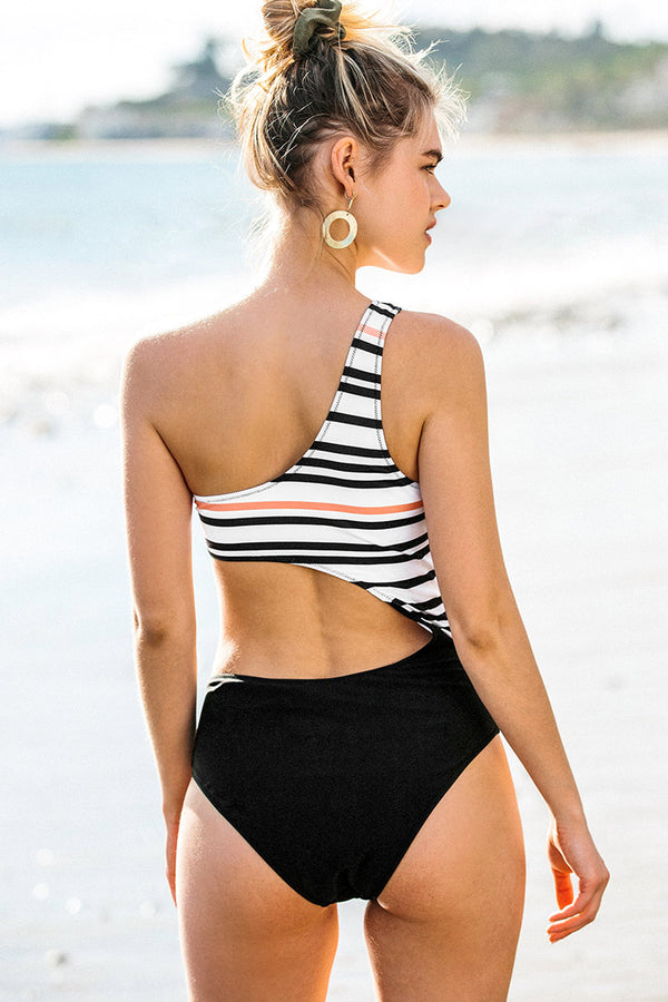 Black Stripe One-Shoulder One-Piece Swimsuit