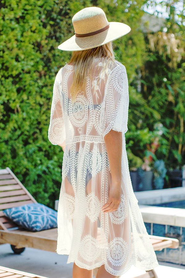 White Self-Tie Crochet Cover Up