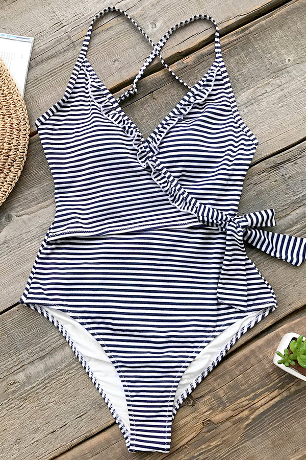 Navy And White Striped One-piece Swimsuit