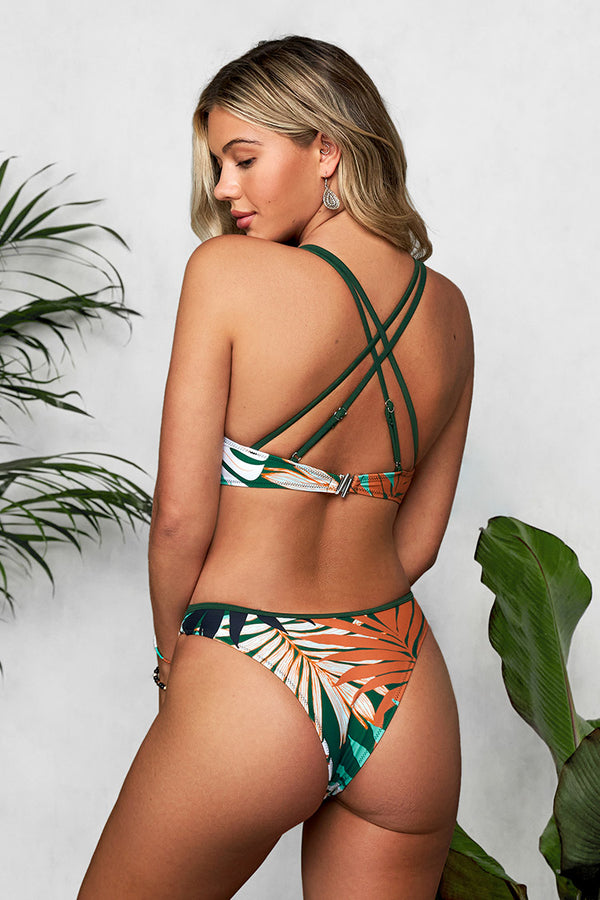Leafy Knotted High Leg Bikini