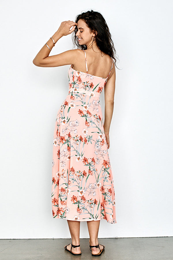 Peachy Floral V-Neck Midi Dress